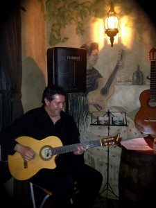 Andrew Ibanez - Guitarist performing at Tapas restaurant in Canmore Alberta